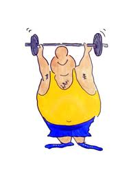 fat buy lifting weight cartoon