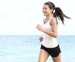 running girl on beach