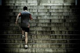 It takes the same amount of energy to climb those stairs but not the same amount of effort.