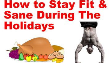 how to stay fit and sane during the holidays in text and a turkey and a male doing a handstand below