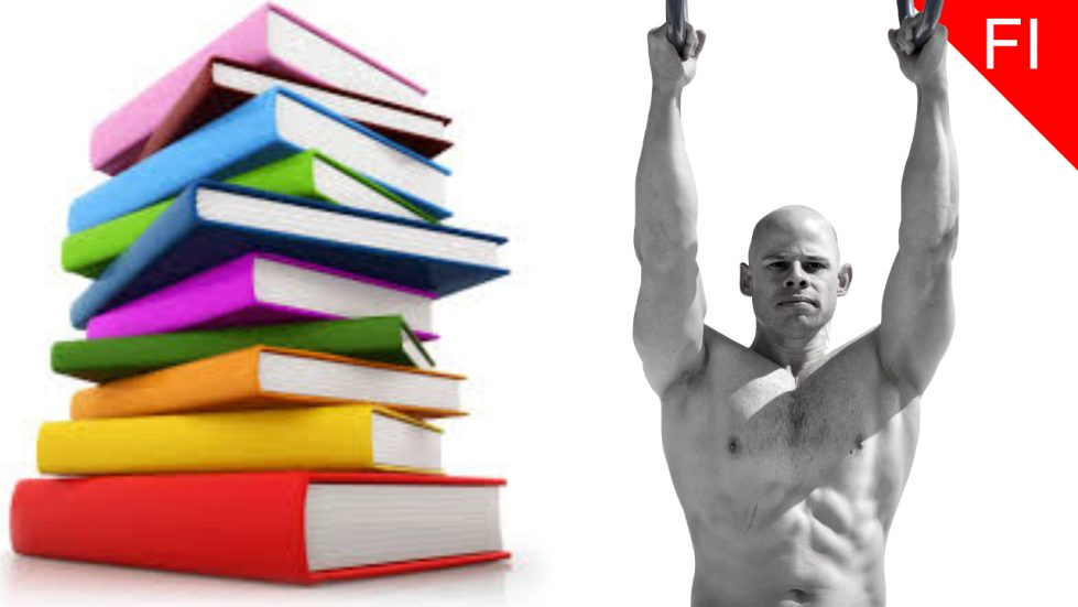 stack of books next to male doing pull ups