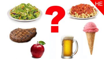 Variety of food choices including salad, steak, apple, beer, ice cream and pasta