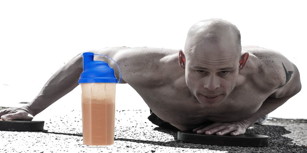 push ups with protein shake